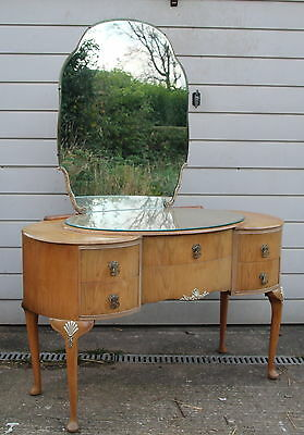 A Queen Anne Style Bleached Walnut Dressing Table Part Suite