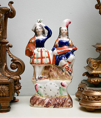 A Charming Miniature Antique c19th Polychrome Staffordshire Figure Musical Group