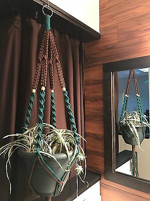 Macrame Plant Hanger Forest Green And Coffee 4 Tan BEADS