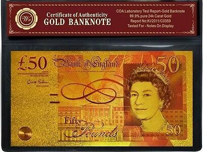 24K Carat Gold Plated £50 Pound Uk Bank Note Official