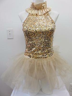 Dance Costume Medium Adult Gold Sequin 3PC Tap Jazz Ballet Solo Competition