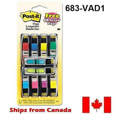 "Post-it Mini Flags Value Pack, 328/Pack 1/2"" x 1-3/4"", 8 Colours - 683-VAD1"
