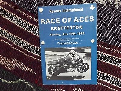 1978 Snetterton Programme 16/7/78 Race Of Aces - Signed By Ron Haslam Autograph