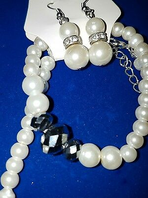 joblot 12 ladies glass pearl necklace bracelet and earrings sets #12A