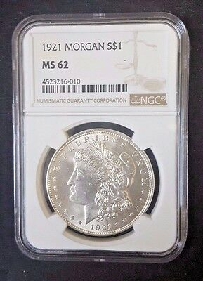1921 Morgan SILVER DOLLAR S$1 NGC MS 62