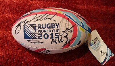 Scotland squad signed world cup 2015 midi rugby ball / 6 nations / COA