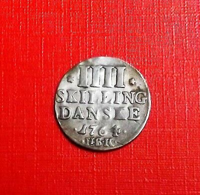 Denmark 1764 Four Skilling [One Year Type] Very Nice Rare Coin