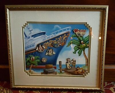 Disney Pin 50092 DCL Cruisin' Through Time All Aboard 9 Framed Set Stitch LE 50