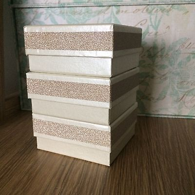 Gold Glitter Square Small Storage Gift Boxes Tower Of Treats DIY Sparkle