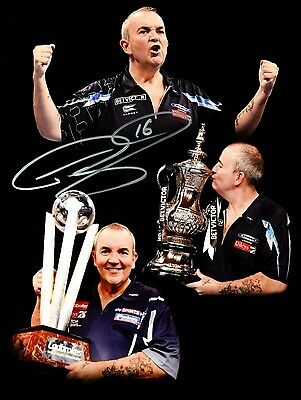PHIL TAYLOR THE POWER DARTS HAND SIGNED PHOTO AUTHENTIC GENUINE + COA - 14x11