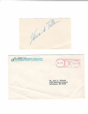Edward Teller signed card / Atomic bomb autographed / With mailing envelope