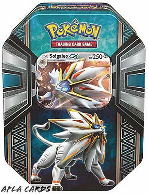 Pokemon Sun And Moon Alola Collectors Tin - Solgaleo-Gx - 4 Booster Packs +Promo