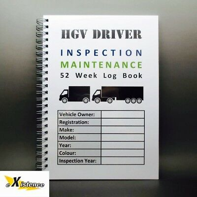 A5 52 Week Commercial Hgv Truck Lorry Vehicle Inspection Check Record Log Book