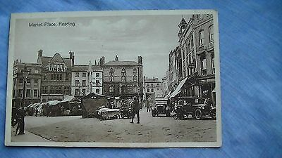 Old Printed Photo Postcard Of The Market Place Reading Berkshire England