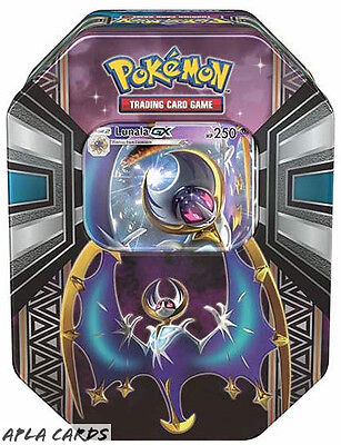 Pokemon Sun And Moon Alola Collectors Tin - Lunala-Gx - 4 Booster Packs + Promo