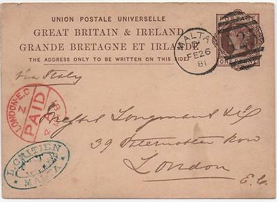 GB: 1881 1d Prepaid Printed Cover to London - Malta Cancel and Numeral (6918)