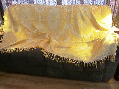 VTG WWII ERA Large Brocade Yellow & White Bed / Tablecover Textile Fringe