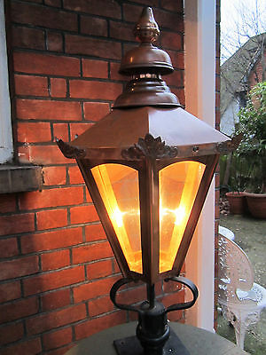 Old Antique Victorian Style Copper Outdoor Garden Lantern Lamp Light Rain proof