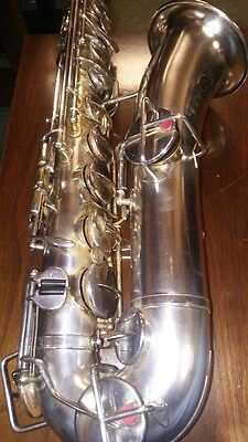 Carl Fisher(Buescher) Vintage Low Pitch Saxophone Silver Plated Gold Plated Bell