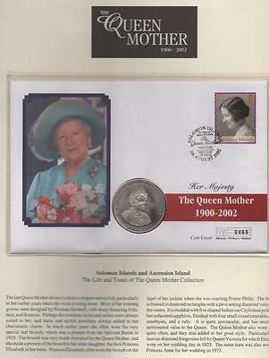 SOLOMON ISLANDS: 2002 The Queen Mother Memorial 50p Coin Cover - Page (6521)