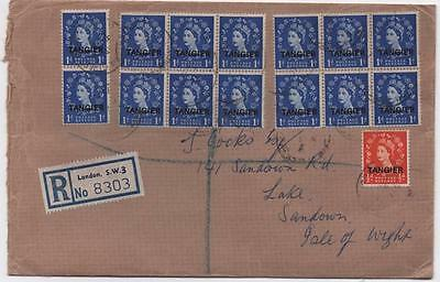 TANGIER: Multiple QEII 1956 Examples on Registered Cover to Sandown (6895)