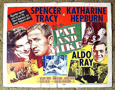 """SPENCER TRACY - KATHARINE HEPBURN / 1952 comedy classic poster -- """"PAT and MIKE"""""""