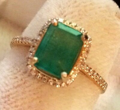 Estate 1.72Ct    Natural Emerald And Real Diamonds Ring In 14K Yellow  Gold