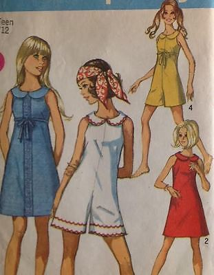 UC Vtg 1960s Simplicity 8262 Sewing Pattern Jumpsuit Dress Junior Jiffy Easy 32""