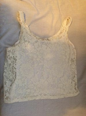 New Look Generation 915 Cream Cropped Lace Vest age 12-13yrs
