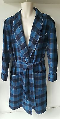 vintage Lloyd Attree and Smith London dressing gown/robe wool blend blue check