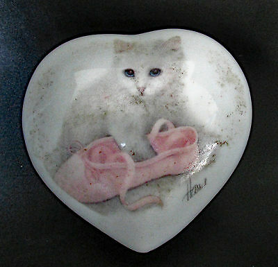 Ballet Slipper Cat Heart Shaped Ceramic Trinket Box Otagiri Bob Harrison