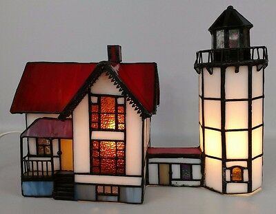 Stained Glass Light House Lamp Music Box Titanic Theme Song Nautical Decor