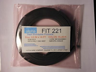 """3/8"""" x 15' HEAT SHRINK TUBE TUBING BLACK Alpha Wire, FIT 221- POLY"""