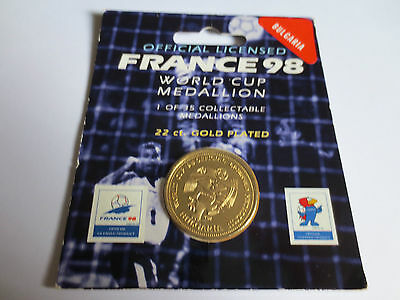 Bulgaria Football 22 Carat Gold Plated Medallion Coin 1998 France FIFA World Cup