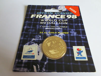 Nigeria Football 22 Carat Gold Plated Medallion Coin 1998 France FIFA World Cup