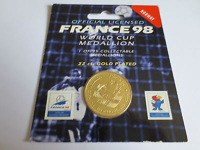 Norway Football 22 Carat Gold Plated Medallion Coin 1998 France FIFA World Cup
