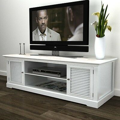 Large TV Stand Unit White Cabinet Shelf Entertainment Screen Wooden Storage