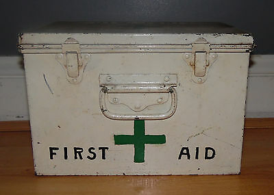 Vintage Reclaimed Salavaged Empty Metal First Aid Tin in White