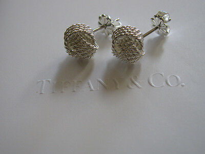 Tiffany & Co. Silver Twist Wire Knot Earrings 100% Authentic POUCH INCLUDED