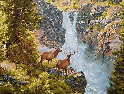 "Gobelin Tapestry Needlepoint Kit ""Deers"" hand embroidery printed canvas 661"