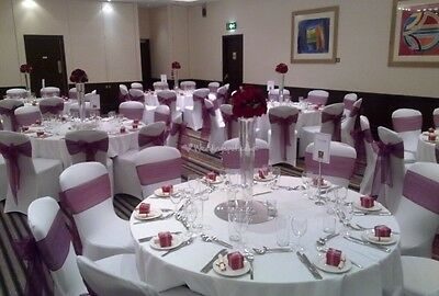 100 chair covers, sashes and FREE table runners Party Event  for Hire
