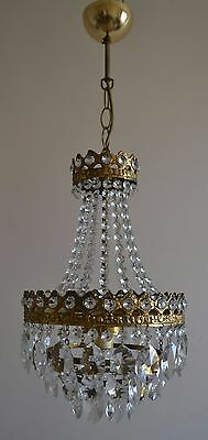 Vintage Antique French Basket Style Brass Crystals Gold Chandelier Ceiling Lamp
