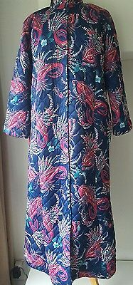 true vintage multicoloured blue pink green nylon lined dressing gown robe size L