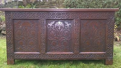 A Fabulous Antique C.17th Century Carved Oak Dowry Chest / Coffer
