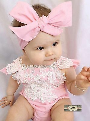 Pink & White Cotton Baby Romper With Lace & Tie Turban Headband Set