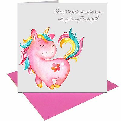 Will you be my Flowergirl Wedding Unicorn card with pink envelope UK FREE POST