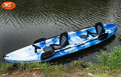 Jetocean 3.7M 2.5 Seaters 2+1 Double Family Fishing Kayak Blue/white Mixed