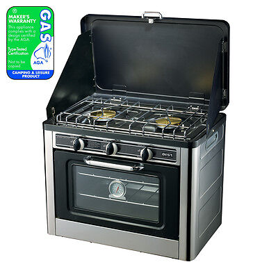New Camping Stove Oven 24L + 2 Burner LPG Gas, Stainless, Wind Proof, Portable