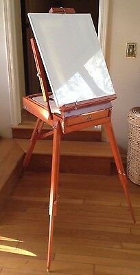 French Wooden Folding Painters Portable Easel Artist Tripod Art Box w/ Supplies