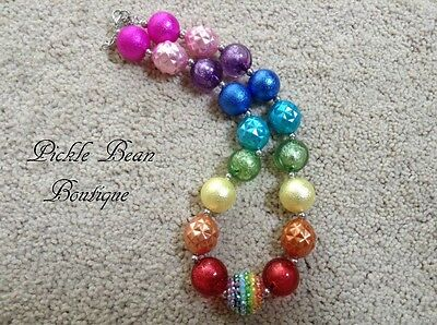 Rainbow Bubblegum Necklace, Girls Kids Baby Chunky Bubble Gum Bead Necklace
